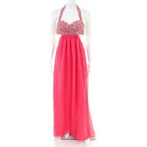 NWT Jump Apparel Pink Beaded Halter Dress Size 5/6